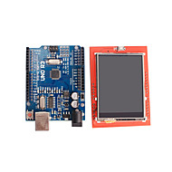 ieftine Monitoare-îmbunătățită bord versiune uno r3 atmega328p + 2.4 inch modul de afișare TFT LCD tactil scut pentru Arduino