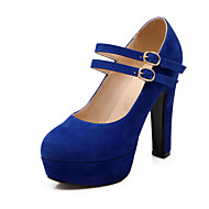 cheap Women's Heels-Women's Shoes Fleece Spring Summer Ankle Strap Boots Walking Shoes Chunky Heel Platform Round Toe Buckle for Wedding Dress Party & Evening