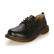 Dames Oxfords Comfortabel Leer Winter Causaal Comfortabel Veters Platte hak Wit Zwart Bruin Rood Plat