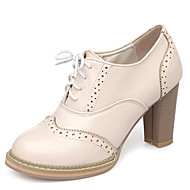 cheap Women's Oxfords-Women's Shoes Leatherette Spring Fall Heels Chunky Heel Lace-up for Dress Party & Evening White Beige Pink