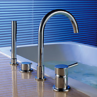 cheap Bathtub Faucets-Contemporary Art Deco/Retro Modern Tub And Shower Rain Shower Waterfall Handshower Included Pullout Spray Widespread Ceramic Valve Five