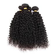 Cabelo Humano Cabelo Indiano Cabelo Humano Ondulado Kinky Curly Cacheado Extensões de cabelo 4 Peças Cor Natural