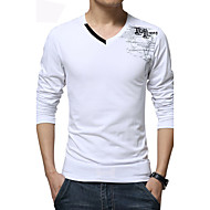 Print Muška Majica s rukavima Ležerne prilike / Plus veličine,Pamuk / Spandex Dugih rukava-Crna / Plava / Bijela
