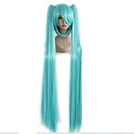 "Top Quality Green Queen Hair 130cm 51"" Miku Cos Split Wig Hatsune Miku with 2 Clip On Ponytail Cosplay Wigs and Party Wig"
