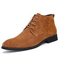 Herre-Semsket lær-Tykk hæl-Komfort-Støvler-Kontor og arbeid-