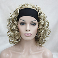 New Fashion 3/4 wig With Headband Honey Ash Blonde Mix Pale Blonde Curly Short Synthetic Half Wig