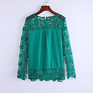 Casual Plus Size Blouse - Patchwork Lace / Cut Out / Fall