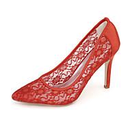 baratos Sapatos Femininos-Mulheres Sapatos Tricô Primavera / Verão Conforto Saltos Salto Alto Rendado Azul / Rosa claro / Ivory / Casamento / Festas & Noite