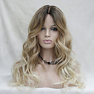 Quality Heat Resistant Ombre Dark Brown to Blonde Wavy Long Wig small edge lace front Wigs