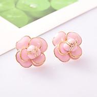 Moda Pozlaćeni Flower Shape Obala Crn Pink Jewelry Za Dnevno Kauzalni 1 par
