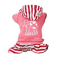 Hund Hættetrøjer Jumpsuits Hundetøj Afslappet/Hverdag Mode Stribe Grå Rød Kostume For kæledyr