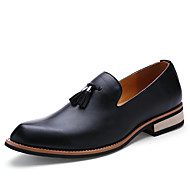 Men's Shoes Leather Spring Fall Loafers & Slip-Ons Tassel for Casual Office & Career Black Yellow Burgundy