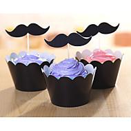 lado cup cake série barba preta inserido do terno do cartão 12 peças laterais de +12 pedaços de cartão inserido