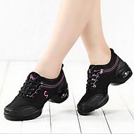 baratos Sapatilhas de Dança-Mulheres Tênis de Dança / Sapatos de Dança Moderna Tecido Sandália / Botas / Têni Sem Salto Não Personalizável Sapatos de Dança Preto e
