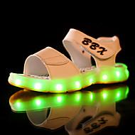 tanie Obuwie chłopięce-Dla chłopców Buty PU Lato Świecące buty Sandały LED na Casual White Black Dark Blue Brown
