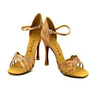 Women's Latin Salsa Ballroom Satin Sandal Buckle Customized Heel Pink Blue Yellow Fuchsia Purple Customizable