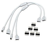 LED 색상 변경 스트립 조명을위한 2 개 / 많은 1 ~ 2 포트 여성 연결 케이블 4 핀 스플리터 무료 6PCS 핀을 얻을