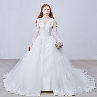 cheap Ball Gown Wedding Dresses-Ball Gown Bateau Neck Cathedral Train Lace Over Tulle Custom Wedding Dresses with Appliques Lace Button by LAN TING Express