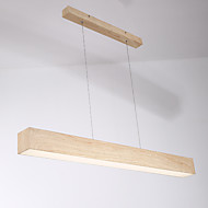 cheap Island Lights-Modern Minimalist LED Restaurant Pendant Office LED Pendant LampWood GrainAcrylic