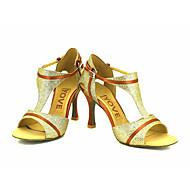 Kan spesialtilpasses-Dame-Dansesko-Latinamerikansk / Salsa-Glitter-Kustomisert hæl-Svart / Blå / Rød / Sølv / Gull