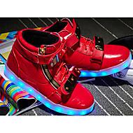 billige High-tops til børn-Drenge Sko PU Forår Lysende Sko Komfort Sneakers Gang Snøring for Afslappet Hvid Sort Rød