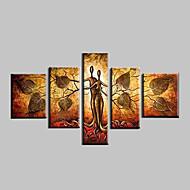billiga Topp Konstnär-Hang målad oljemålning HANDMÅLAD - Abstrakt / Landskap / fantasi Moderna Med Ram / Fem paneler
