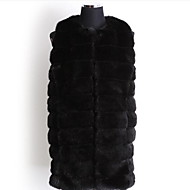 Women's Plus Size Simple Fur CoatSolid Round Neck Sleeveless Fall Beige / Black Faux Fur Medium