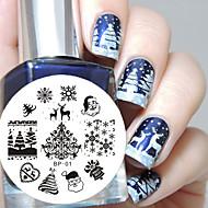 Χαμηλού Κόστους Χριστούγεννα Nail Art-1 pcs Πλάκα σφράγισης Πρότυπο Μοδάτο Σχέδιο τέχνη νυχιών Μανικιούρ Πεντικιούρ Στυλάτο / Μοντέρνα Καθημερινά / σφράγιση Plate / Ατσάλι