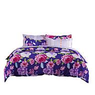 Bettbezug-Sets Blumen 4 Stück Reaktivdruck 4-teilig (1 Bettbezug, 1 Bettlaken, 2 Kissenbezüge)