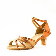 baratos Sapatilhas de Dança-Mulheres Sapatos de Dança Latina Cetim Sandália Pedrarias Salto Personalizado Personalizável Sapatos de Dança Transparente / Preto /