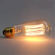 baratos Incandescente-1pç 40 W E26 / E27 ST58 Branco Quente 2300 k Retro / Regulável / Decorativa Incandescente Vintage Edison Light Bulb 220-240 V
