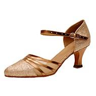 """billige Moderne sko-Dame Latin Moderne Glimtende Glitter Sandaler Høye hæler Innendørs Profesjonell Gummi Spenne Kustomisert hæl Gylden 1 """"- 1 3/4"""" 2 """"- 2"""