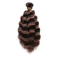 Натуральные волосы Индийские волосы Precolored ткет волос Глубокие волны Наращивание волос 1 шт. Средний коричневый