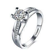 Dame Band Ring / Statement Ring - Sølv, Zirkonium, Kvadratisk Zirconium Hjerte, Kærlighed Mode 6 / 7 / 8 Hvid Til Bryllup / Fest /