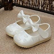 Para Meninas Bebê sapatos Couro Ecológico Primavera Outono Rasos Laço Para Casual Branco Rosa claro