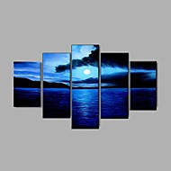 Ready to Hang Stretched Frame Hand-Painted Oil Painting Moon Seascape Canvas Wall Art Modern Home Office Decor