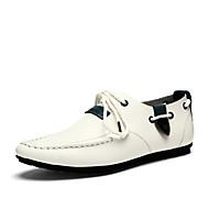 お買い得  メンズデッキシューズ-男性用 靴 レザー 春 夏 フラット のために カジュアル オフィス&キャリア アウトドア ホワイト ダークブルー グレー ネービーブルー