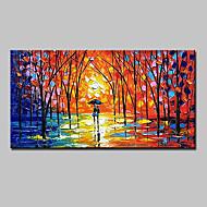 billiga Landskapsmålningar-Hang målad oljemålning HANDMÅLAD - Abstrakt / Landskap / Abstrakta landskap Moderna Med Ram / Sträckt kanfas