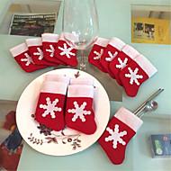 12枚/セットミニクリスマスストッキング食器カバークリスマスツリーの飾りクリスマスの飾り祭パーティ