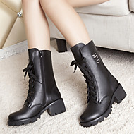 Women's Boots Leather Fall Casual Chunky Heel Block Heel Black 2in-2 3/4in