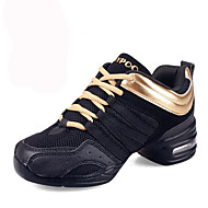 Women's Dance Shoes Leather / Fabric Leather / Fabric Dance Sneakers / Modern Sneakers Flat Heel