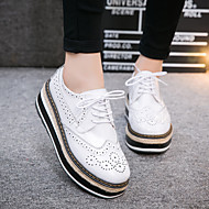 Women's Oxfords Comfort Leather Spring Summer Fall Casual Walking Flat Heel White Black Flat