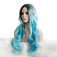 Synthetische Perücken Locken Stil Perücke Blau Rauch-Blau Synthetische Haare Damen Gefärbte Haarspitzen (Ombré Hair) / Dunkler Haaransatz / Natürlicher Haaransatz Blau Perücke Lang Capless Perücken