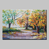 billiga Landskapsmålningar-Hang målad oljemålning HANDMÅLAD - Landskap / Blommig / Botanisk / Abstrakta landskap Klassisk Med Ram