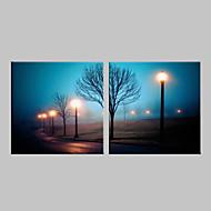 E-Home® gestreckt geführt Leinwanddruck Kunst Straßenlaterne Flash-Effekt führte blinkenden Lichtwellenleiter Drucksatz von 2