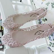 billige Skosalg-Dame Sko Glitter Sommer Sandaler Flat hæl Gummi til Avslappet Sølv Rosa Gylden