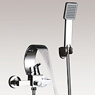 cheap Bathtub Faucets-Contemporary Art Deco/Retro Modern Tub And Shower Waterfall Handshower Included Ceramic Valve Two Holes Single Handle Two Holes Chrome,