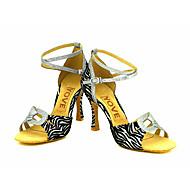 Kan spesialtilpasses-Dame-Dansesko-Latinamerikansk Salsa-Glimtende Glitter-Kustomisert hæl-Sølv Gull