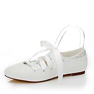 billige Skosalg-Dame Sko Silke Vår Sommer Flate sko Flat hæl Snøring til Bryllup Formell Fest/aften Krystall