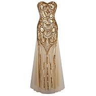 teacă / coloană dragă podea lungime poliester rochie de seară formală cu paiete